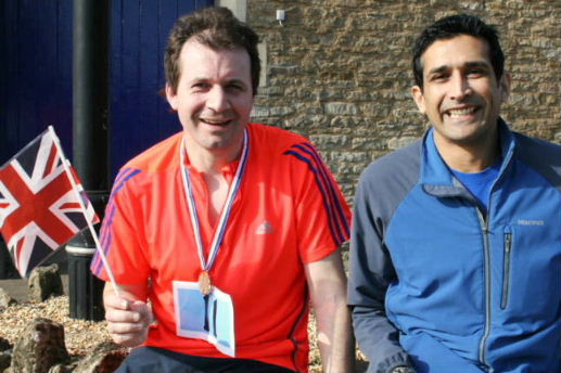 Diamond Jubilee fun run winner, Tom Estcourt, with Darryn Rawlins 11.03.12