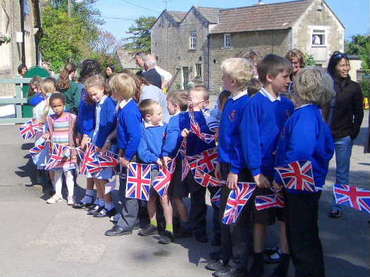 Children waiting to see the Duchess of Cornwall, 11th May 2009