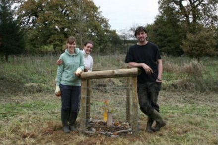 Jubilee oak planting - Liz Allen, Sarah Harriman and Will Lawton