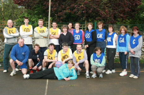 Men versus ladies netball teams