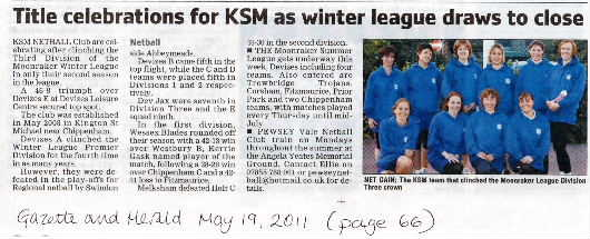 Newspaper clipping from the Gazette & Herald 19th May 2011