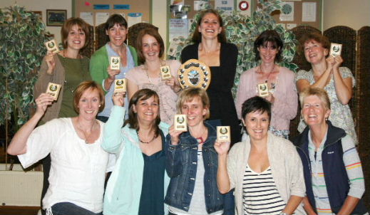 Netball club members receive their awards at the Moonraker AGM, 21st June 2011