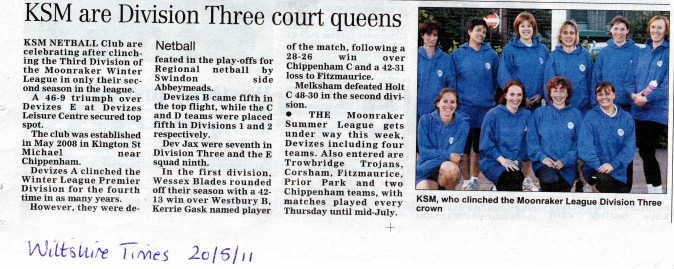 Newspaper clipping from the Wiltshire Times, 20th May 2011